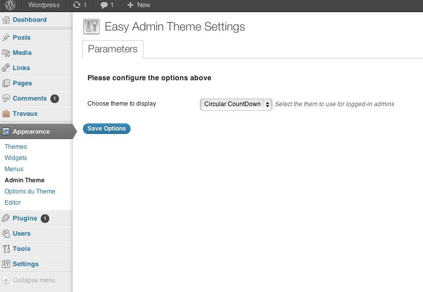 Easy Admin Theme settings
